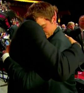 The NJ Devils let Martin Brodeur announce the drafting of his son Anthony. The kid tried to shake his dad's hand as he handed him his jersey but Martin grabbed his son's face and pulled him into a big ol bear hug. I almost cried.