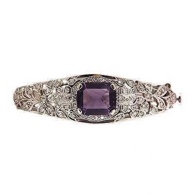 Vintage 4.50ct Amethyst .65ct Diamond 14k Gold Bangle Bracelet 6 To 6 1/2 Inches - petersuchyjewelers