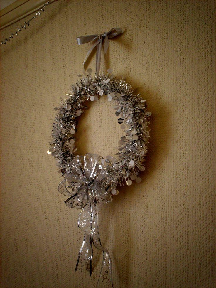 handmade silver shabby chic christmas wreath