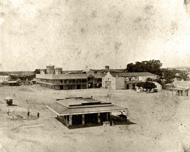 The Alamo - how it looked in 1876 with the Grenet Building and a meat market
