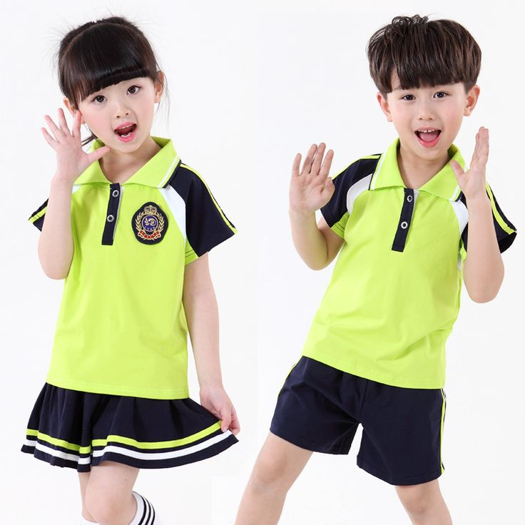 Kindergarten Summer Clothing 2016 Primary School Students Short-sleeve Clothes Set Baby Boy Girls Choral School Uniform Suit