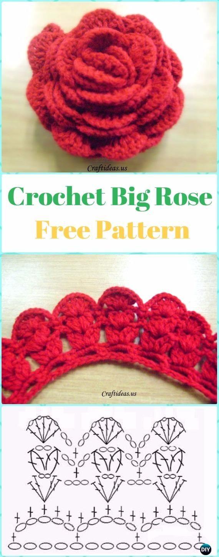 Crochet 3D flor libre patrón libre de la flor - los patrones libres de la flor de Rose 3D Rose