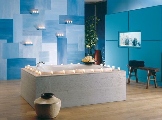 Geometric patterned painted walls accent wall geometric for Sky blue bathroom designs