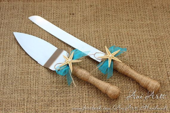 Beach Wedding Cake Server and Knife Nautical Wedding by AniArts