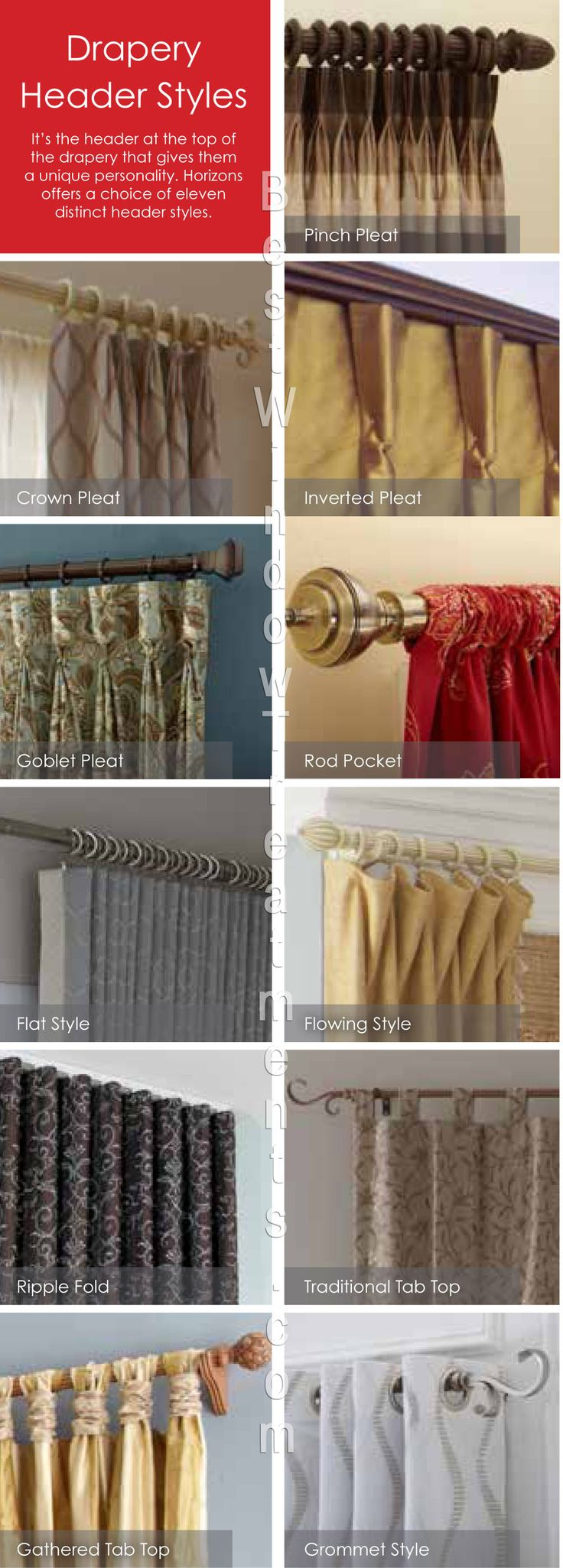 Types of curtains styles - Types Of Curtain Headers