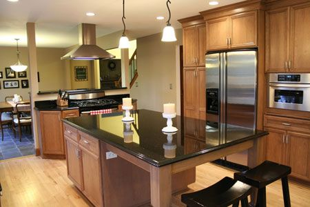 Galaxy Black granite kitchen countertops. Also called Black Galaxy.