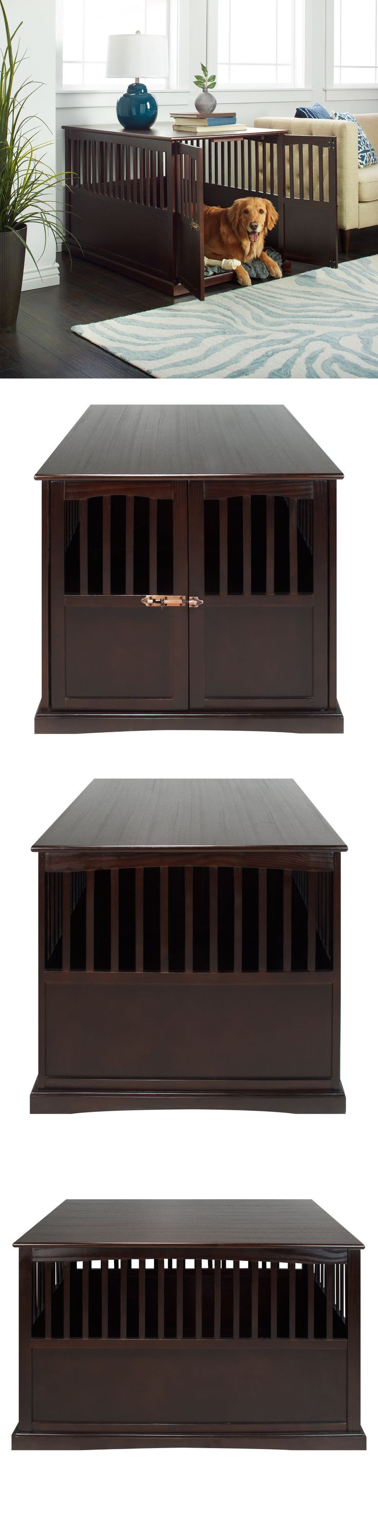 Cages and Crates 121851: Wooden Furniture Xl Pet Crate Espresso Solid Wood End Table Kennel Consule Decor -> BUY IT NOW ONLY: $195.54 on eBay!