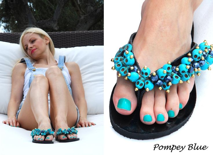 Pompey Blue Flip-flop! Turquoise and Black! Bonbon Sandals