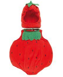 Costume di Carnevale da fragola, rosso con decorazioni verdi e nere, in morbi...
