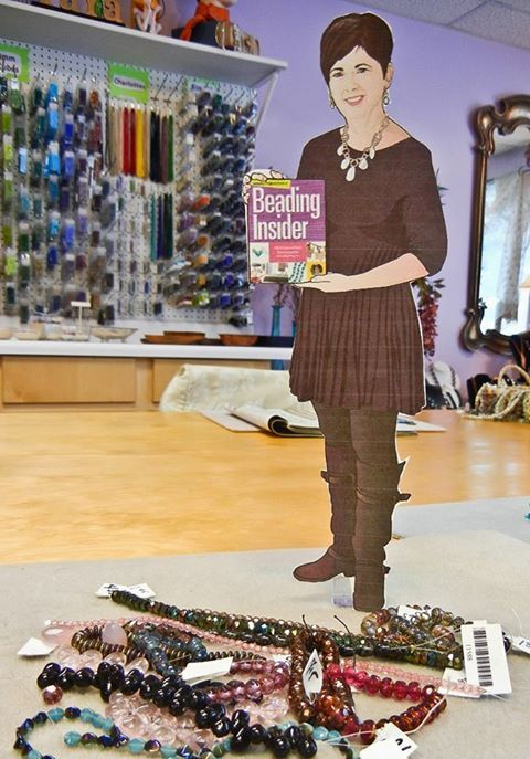 Here is a photo of Flat Cathy helping pick out dangles for Boho chic earrings at YaYa Beads in Augusta, GA.