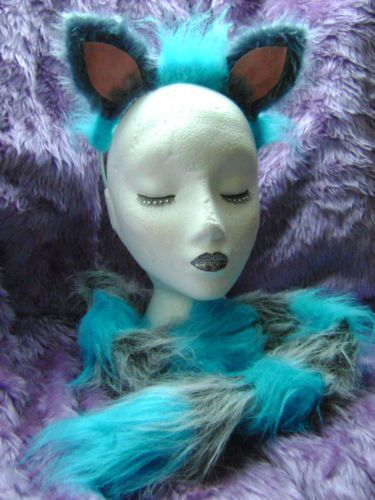 The Cheshire Cat Fancy Dress Ears And Tail Set Blue & Grey Cheshire Cat Costume | eBay
