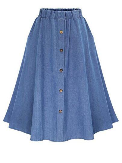Falda denim cintura elástica con botones
