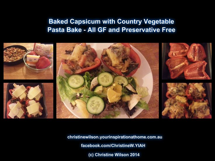 Baked capsicum using the left over country vegetable meat sauce from 2 nights ago. I used Heinz GF mini rigatoni instead of spaghetti. There was enough left over not just for tonight and another night but enough for a friends family for dinner. Cost for all meals including previous meal was approx $20 dollars. Pretty good value especially given the capsicums are in season and very cheap.