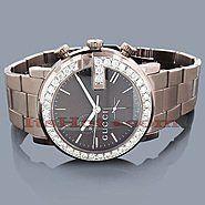 Gucci Watches Chrono Mens Diamond Watch 3.10ct Brown