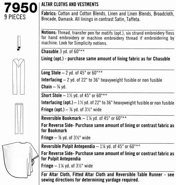 Simplicity 7950 Altar Cloths Vestments | sewing | Altar cloth