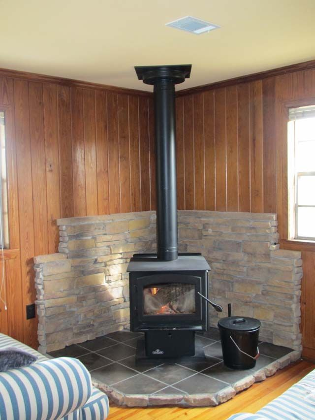 Detailed description on how to build a tile & thin stone surround for a wood stove