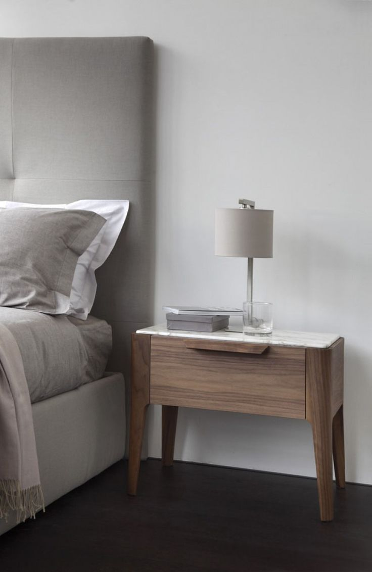 Stylish Nightstands Influenced By Nordic Furniture Designs: Enticing Wood  Nightstand With Magnificent Small Table Lamp And Modern Gray Bed Frame  Embellish ...