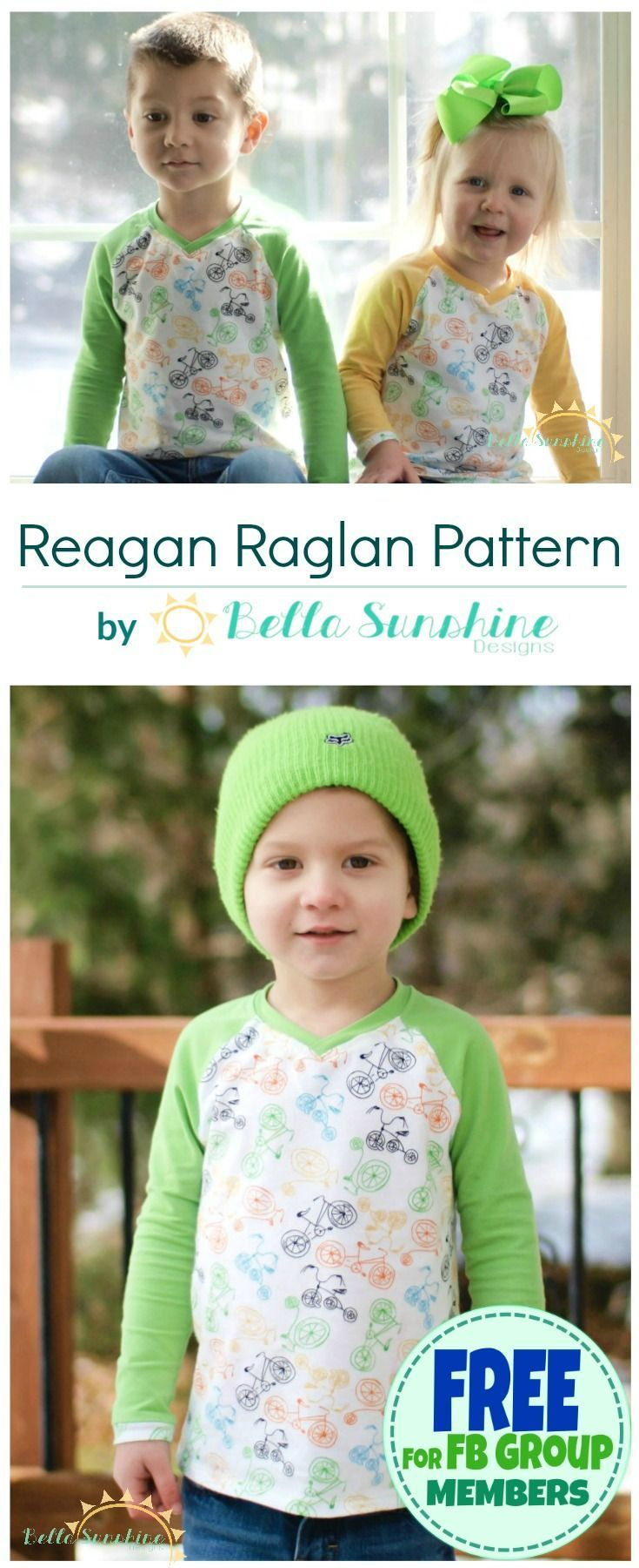 I am in love with this raglan sewing pattern for boy and girls by Bella Sunshine Designs. And best of all, you can get it for free by joining their Facebook group!