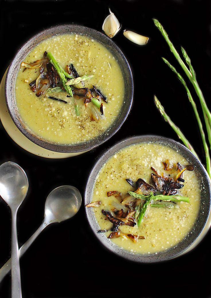 Vegan Cream of Asparagus Soup   vegan soup recipe   potluck at ohmyveggies.com