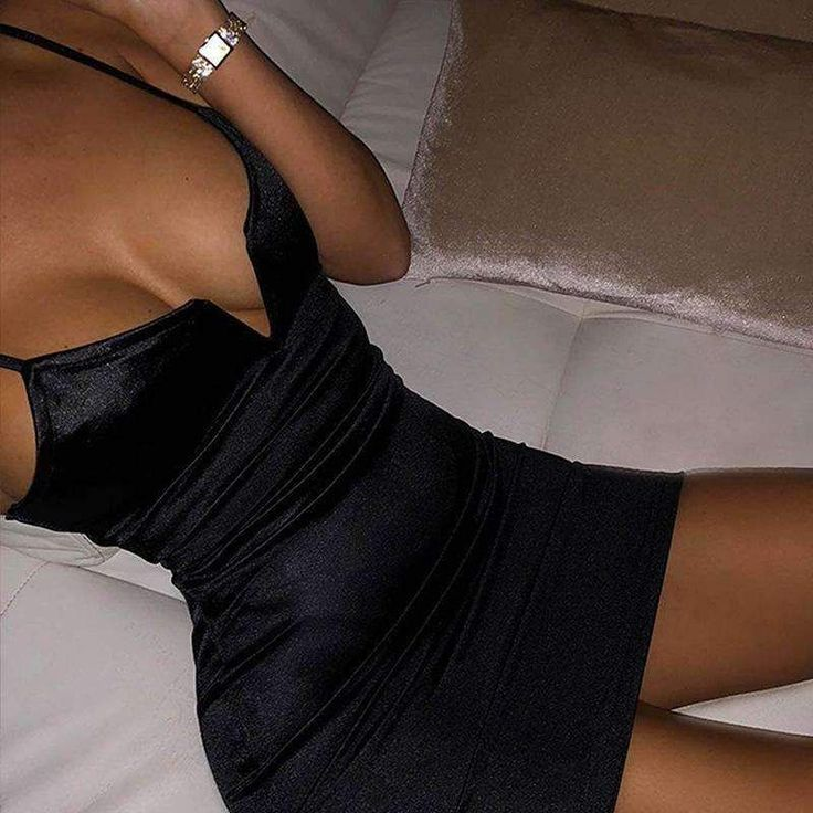 strappy satin solid color deep V bodycon dress – Lupsona 2