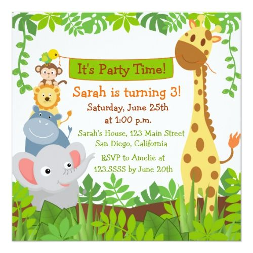 The 25 best funny birthday invitations ideas on pinterest 30th funny jungle animals birthday party invitations stopboris Gallery
