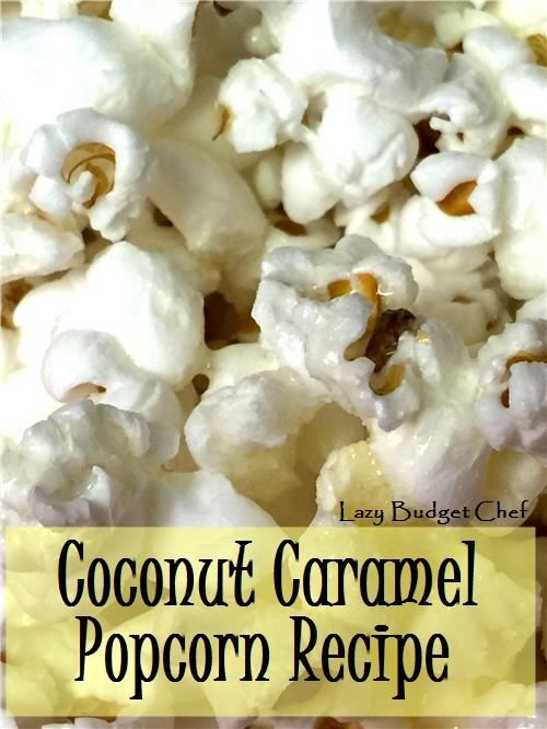 """How to make coconut """"caramel"""" flavored popcorn at home. The recipe is dairy free! She uses coconut oil and honey."""
