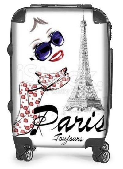 Valise à roulette personnalisée - La Parisienne & les Jardins du Trocadéro - Tour Eiffel Paris Toujours - 250€ Paris#valise#original#fille#parisienne#toureiffel#Trocadero#champsdemars#roulette#idée#cadeau#