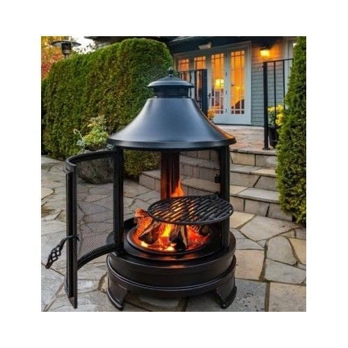 Barbecue Garden Fire Pit Outdoor Cooking BBQ Grill Log Burner Patio Heater