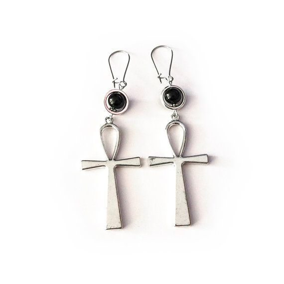 Ankh Earrings, LARGE Gothic Key of the Nile Earrings, Gothic Earrings, Gothic Ankh Earrings, Egyptian Gothic Jewelry