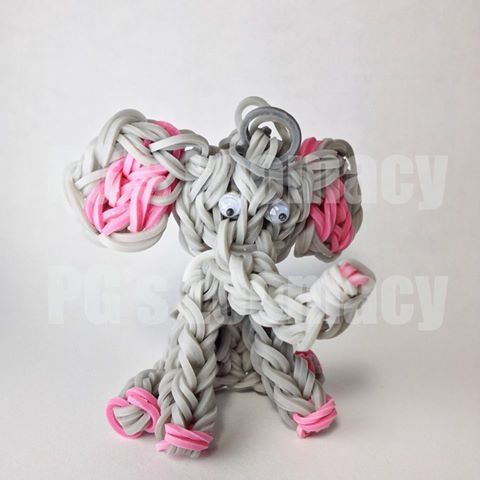 Elephant figure made from Rainbow Loom - created by PG's Loomacy seen on Facebook - https://www.facebook.com/loomacy