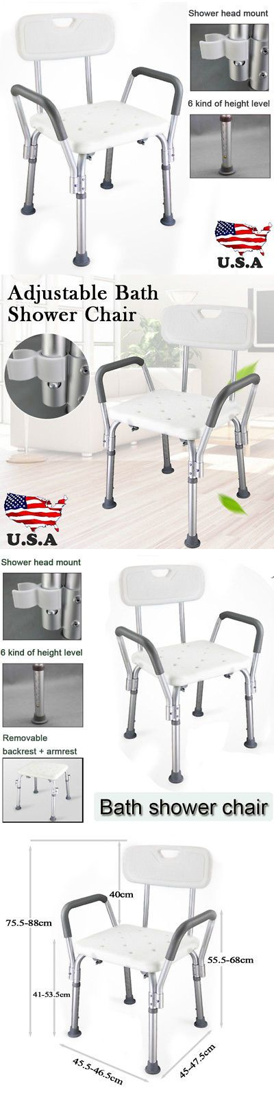 Shower and Bath Seats: Medical Shower Bath Chair Adjustable Bench Stool Seat W Detachable Back And Arm -> BUY IT NOW ONLY: $30.89 on eBay!