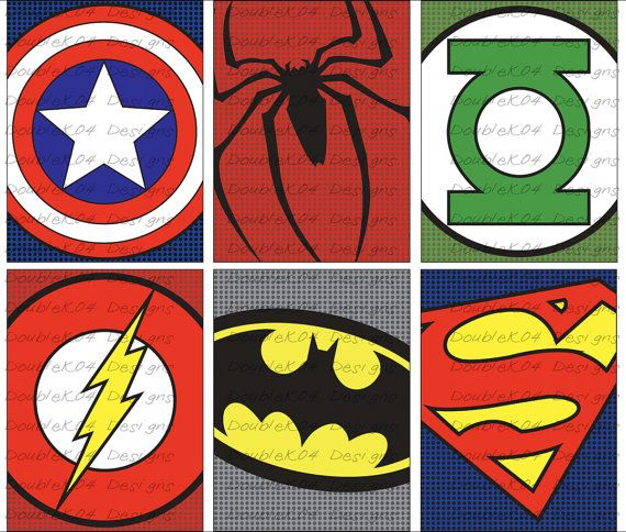 PRINTABLE Superhero Logos Superman Spiderman Batman by DoubleK04, $25.00