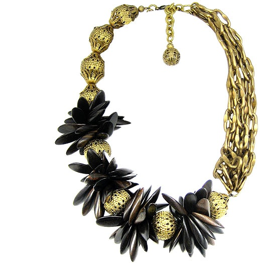 Jewellery by Karen wood and gold tone necklace. Details: http://jewellerybykaren.com/boutique/just-reduced/necklace-793n