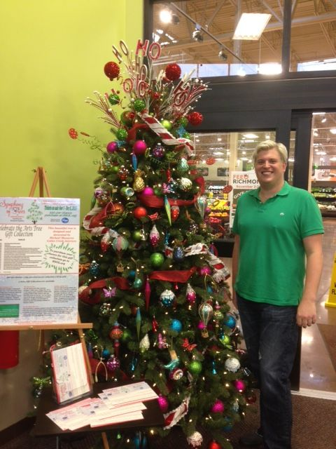 "The ""Celebrate the Arts"" tree, designed by Michael Maszaros of Cabin Creek Interiors, is located at the new Kroger Marketplace at Ironbridge in Chester.  Prizes in this package include tickets to the Richmond Symphony, the Richmond Ballet, the Virginia Opera and so much more!  Visit www.rsol.org to see the complete prize list, for raffle rules and to purchase tickets."
