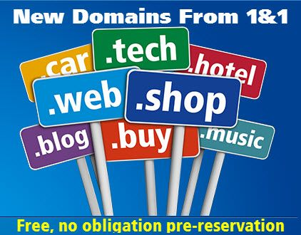1&1 Launches New gTLD Pre-Reservation Portal - New domain name endings set to transform digital landscape