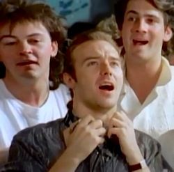 Midge Ure: recording the Band Aid single, here with Paul Young and Tony Hadley © 1984 Mercury Records