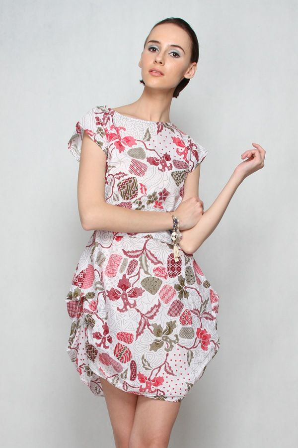 Ellena Batik Dress WhiteMaroon