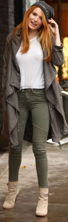 Who made Bella Thorne's green skinny jeans and coat?