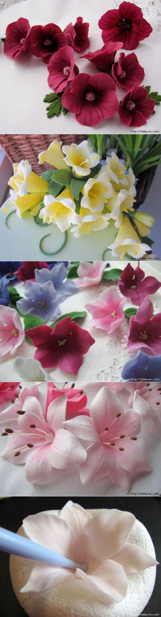 Лепка. Шикарные цветы из сахарной мастики для украшения тортов. Фото мастер- классы- много...