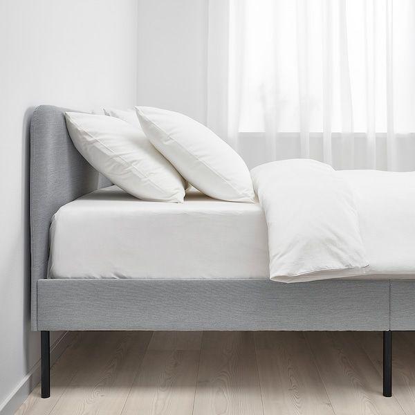 Slattum Upholstered Bed Frame Knisa Light Gray Queen