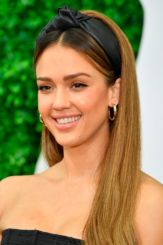 Love Jessica Alba's look?  Get your faux leather headband by clicking the image. Currently $34,95 with free shipping on clubcano… | Headband hairstyles, Scarf hairstyles, Long hair styles