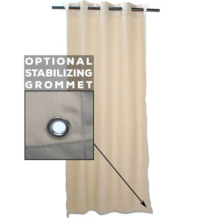 Sheer Wren Sunbrella Outdoor Curtains with Tabs