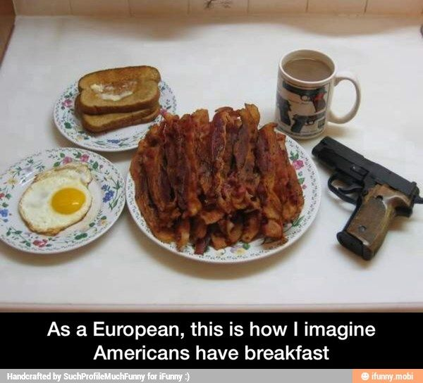 This IS how Americans have their breakfast. more funny pics on facebook: https://www.facebook.com/yourfunnypics101