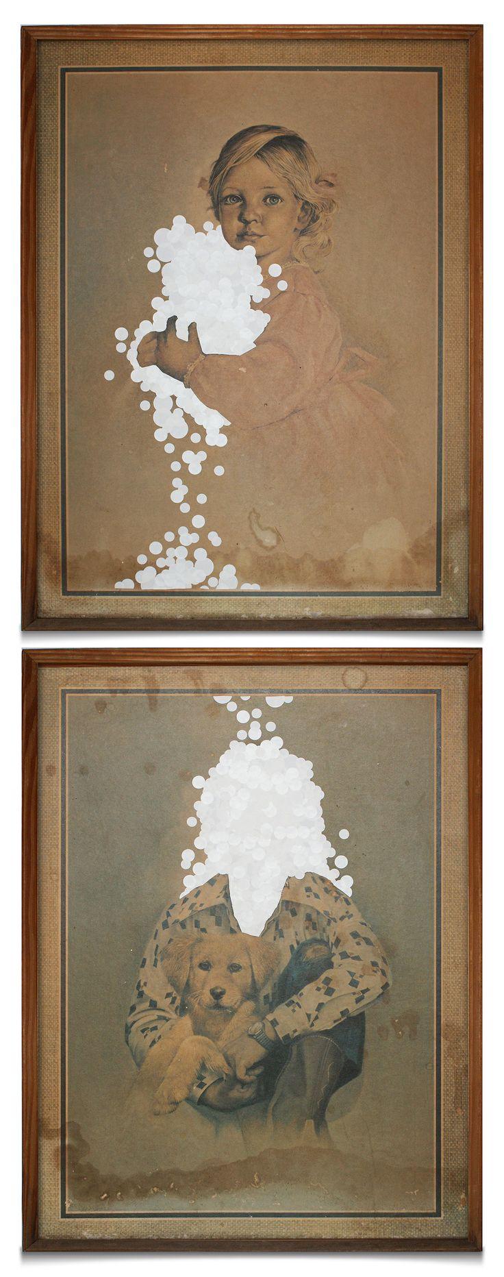 Circular Stickers on Found Art   Willem Kitshoff