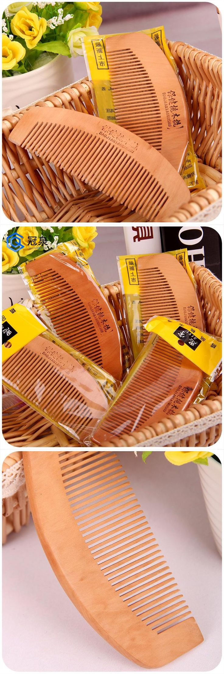 [Visit to Buy] 1pcs Natural Sandalwood Comb cepillo de pelo hairbrush Wide Tooth No-static Massage Hair Brush Health Wooden Comb massager smrp #Advertisement
