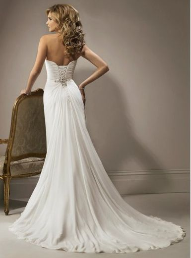 Wedding Dresses for Petite Women | ... Furcal Chiffon Satin Beach Bridal Gown HOT SALE! Online Cheap Prices