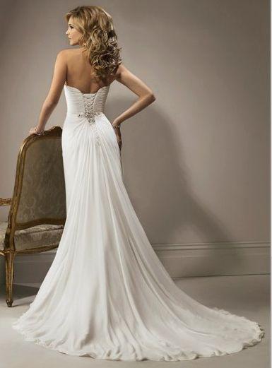 Wedding Dresses for Petite Women | ... Furcal Chiffon Satin Beach Bridal Gown HOT SALE! Online Cheap Prices