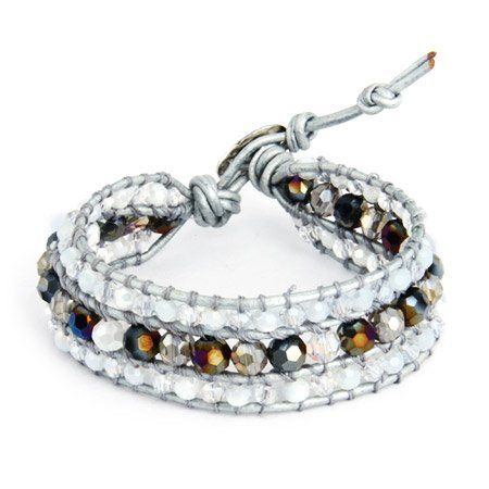 Chen Rai Jeweled Silver Leather Beaded Single Wrap Bracelet Eve's Addiction. $28.00. Approximate Weight: 15 grams