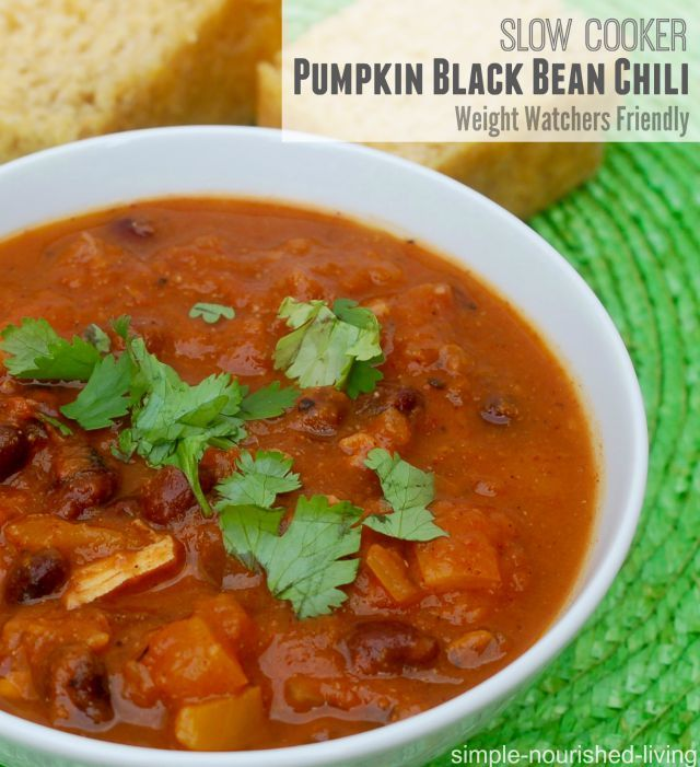 Weight Watchers Slow Cooker Black Bean Chili. So easy, healthy and delicious and  Simply Filling too! 162 calories, 4 Weight Watchers Points Plus. One of my favorite weight watchers recipes for the slow cooker