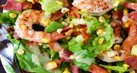 Shrimp, Avocado, & Roasted Corn Salad... Nathan wold love me for this...  L